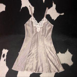 Vintage 80's beige satin slip dress, petite xs